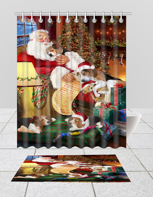 Santa Sleeping with Treeing Walker Coonhound Dogs  Bath Mat and Shower Curtain Combo