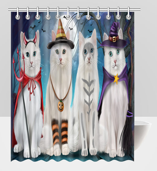 Halloween Trick or Teat Turkish Angora Cats Shower Curtain