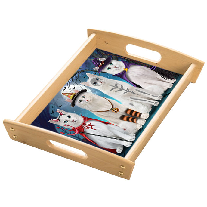 Happy Halloween Trick or Treat Turkish Angora Cats Wood Serving Tray with Handles Natural TRA49295