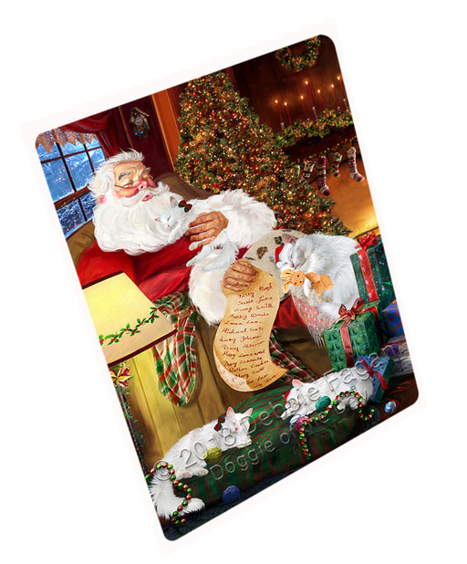 Santa Sleeping with Turkish Angora Cats Christmas Large Refrigerator / Dishwasher Magnet RMAG77832