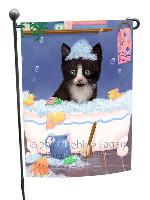 Rub A Dub Dog In A Tub Tuxedo Cat Garden Flag GFLG66326