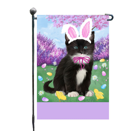Personalized Easter Holiday Tuxedo Cat Custom Garden Flags GFLG-DOTD-A59050
