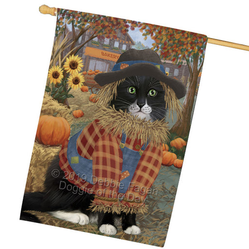 Fall Pumpkin Scarecrow Tuxedo Cats House Flag FLG65985