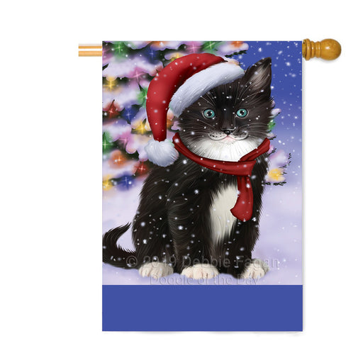 Personalized Winterland Wonderland Tuxedo Cat In Christmas Holiday Scenic Background Custom House Flag FLG-DOTD-A61487