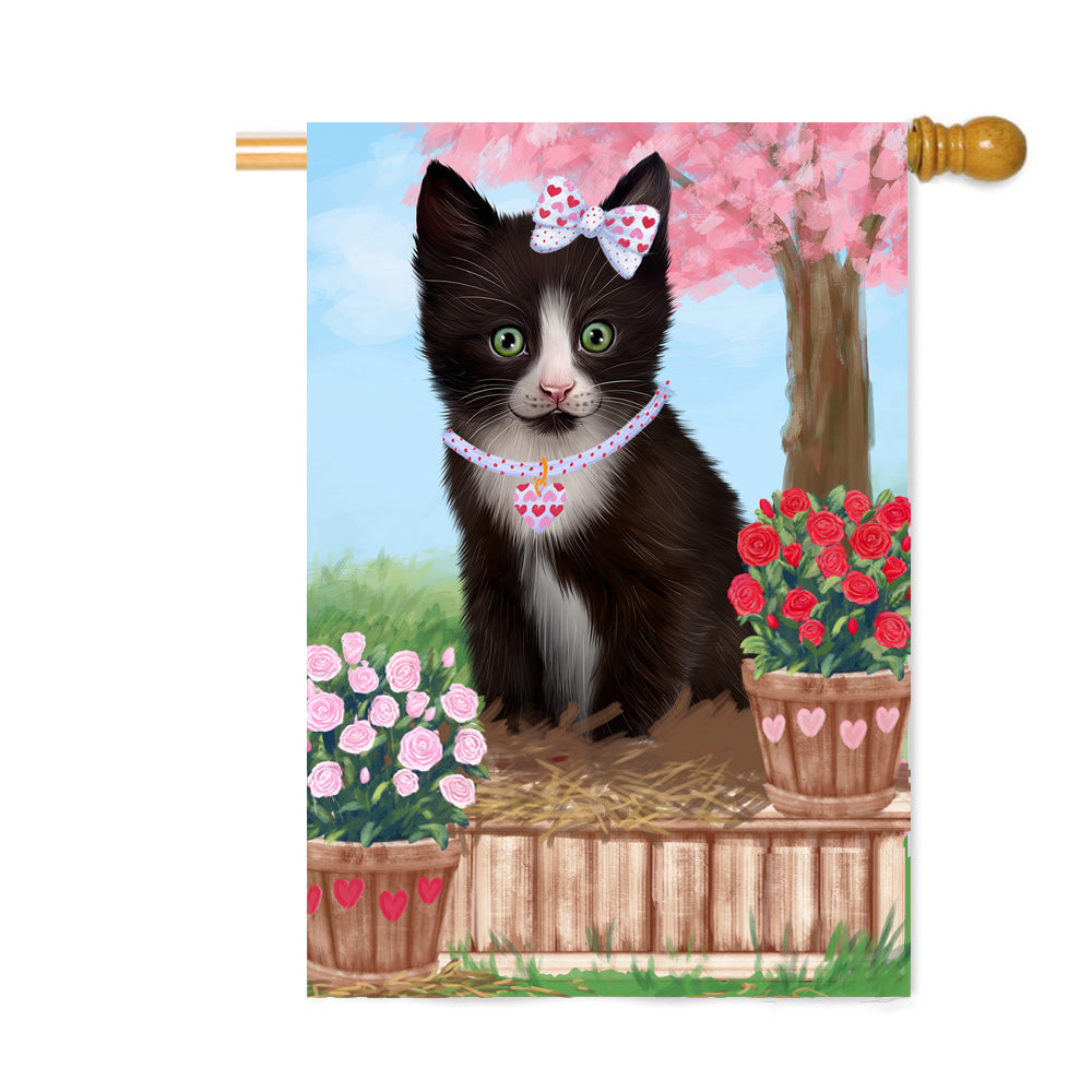 Personalized Rosie 25 Cent Kisses Tuxedo Cat Custom House Flag FLG64967