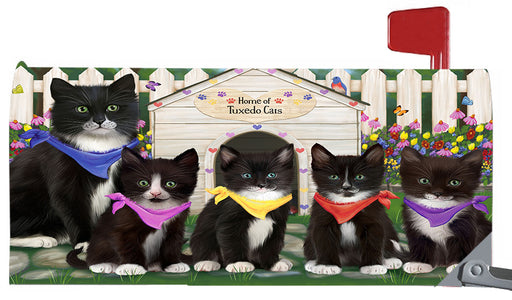 Spring Dog House Tuxedo Cats Magnetic Mailbox Cover MBC48683