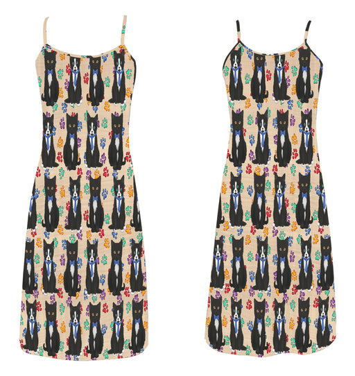 Rainbow Paw Print Tuxedo Cats Blue Alcestis Slip Dress