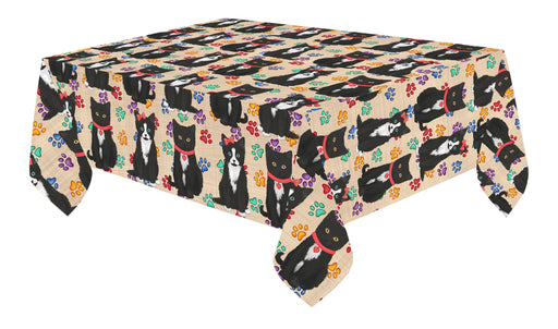 Rainbow Paw Print Tuxedo Cats Red Cotton Linen Tablecloth