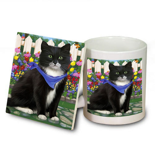 Spring Floral Tuxedo Cat Mug and Coaster Set MUC52220