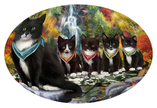 Scenic Waterfall Tuxedo Cats Oval Envelope Seals OVE63892
