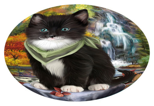 Scenic Waterfall Tuxedo Cat Oval Envelope Seals OVE63896