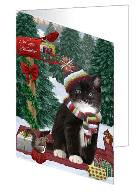 Merry Christmas Woodland Sled Tuxedo Cat Note Card NCD69701
