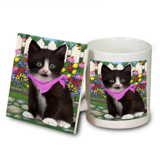 Spring Floral Tuxedo Cat Mug and Coaster Set MUC52221