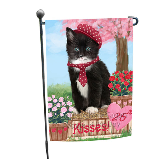 Rosie 25 Cent Kisses Tuxedo Cat Garden Flag GFLG56802