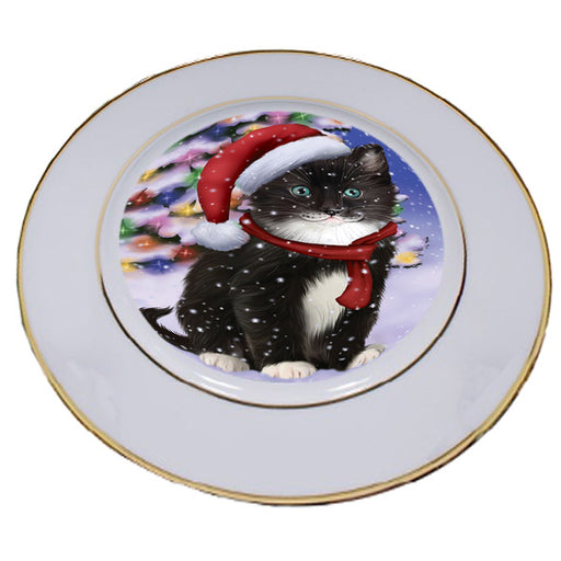 Winterland Wonderland Tuxedo Cat In Christmas Holiday Scenic Background Porcelain Plate PLT55708