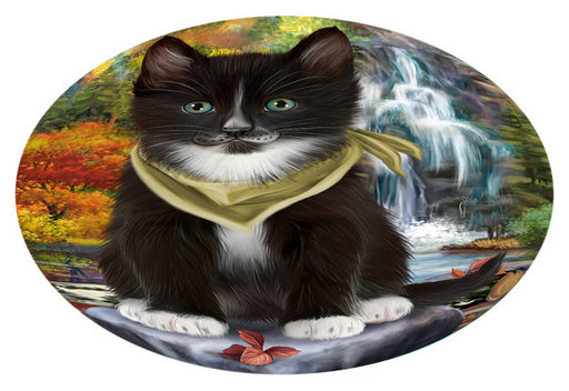 Scenic Waterfall Tuxedo Cat Oval Envelope Seals OVE63900