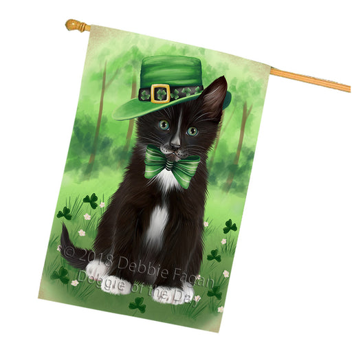 St. Patricks Day Irish Portrait Tuxedo Cat House Flag FLG65078