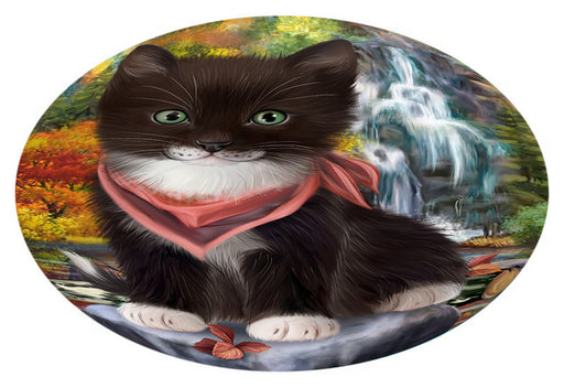 Scenic Waterfall Tuxedo Cat Oval Envelope Seals OVE63904