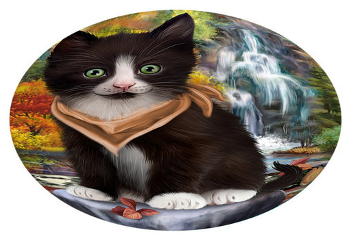 Scenic Waterfall Tuxedo Cat Oval Envelope Seals OVE63908