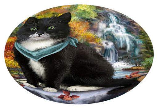 Scenic Waterfall Tuxedo Cat Oval Envelope Seals OVE63912