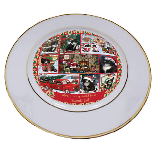 Love is Being Owned Christmas Tuxedo Cats Porcelain Plate PLT57311