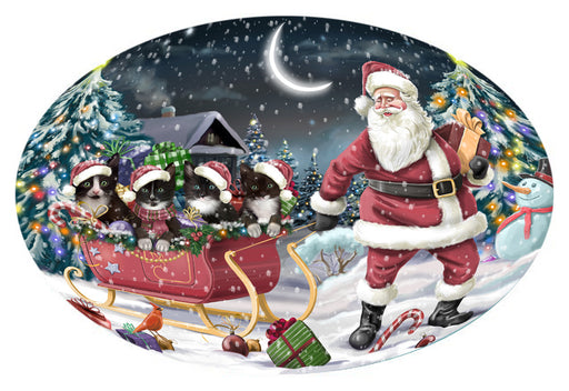 Santa Sled Dogs Christmas Happy Holidays Tuxedo Cats Oval Envelope Seals OVE62900