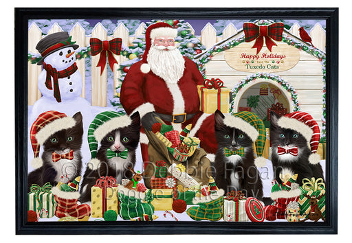 Christmas Dog House Tuxedo Cats Framed Canvas Print Wall Art FCVS126387