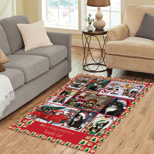 Love is Being Owned Christmas Tuxedo Cats Area Rug