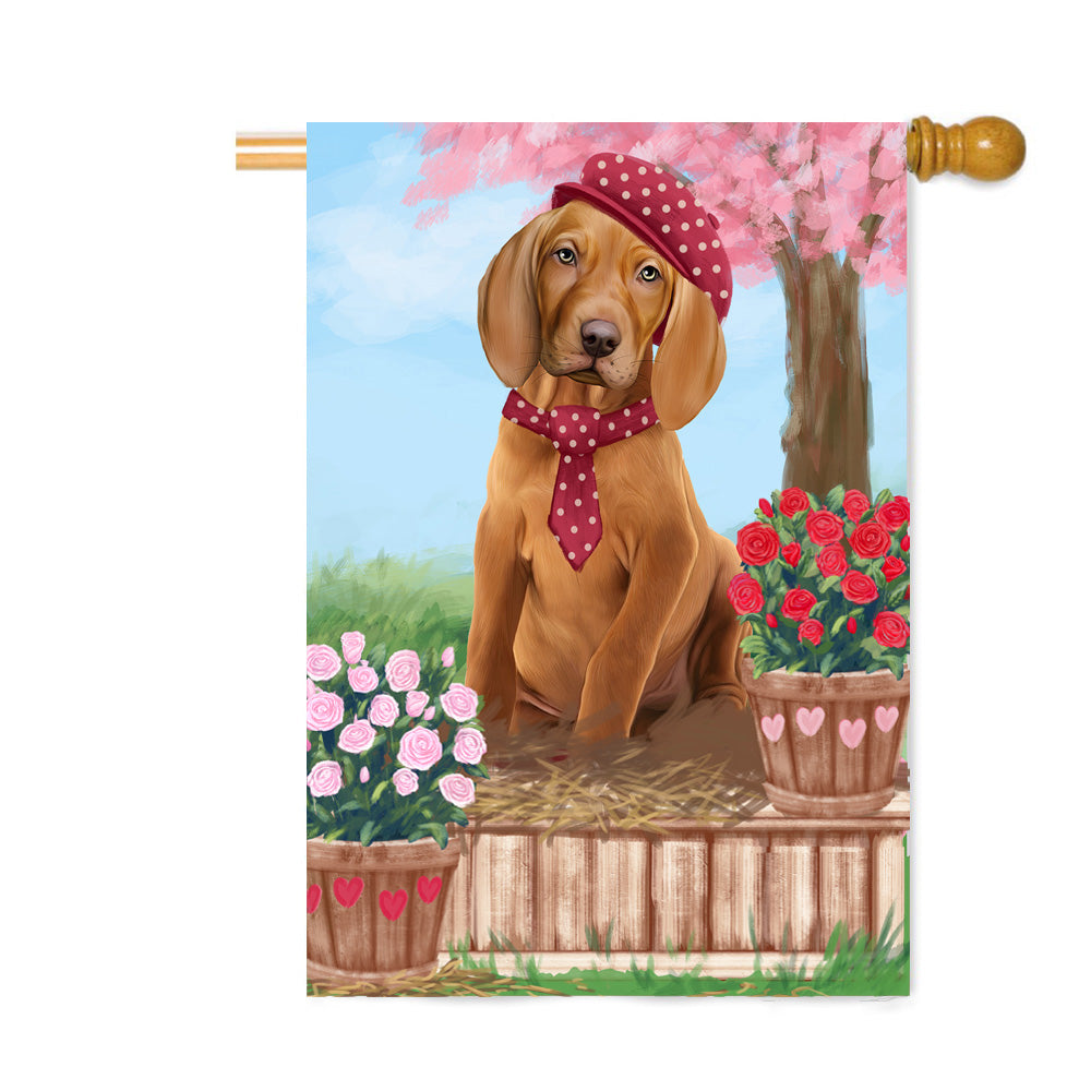Personalized Rosie 25 Cent Kisses Vizsla Dog Custom House Flag FLG64968