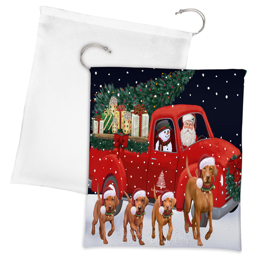 Christmas Express Delivery Red Truck Running Vizsla Dogs Drawstring Laundry or Gift Bag LGB48938