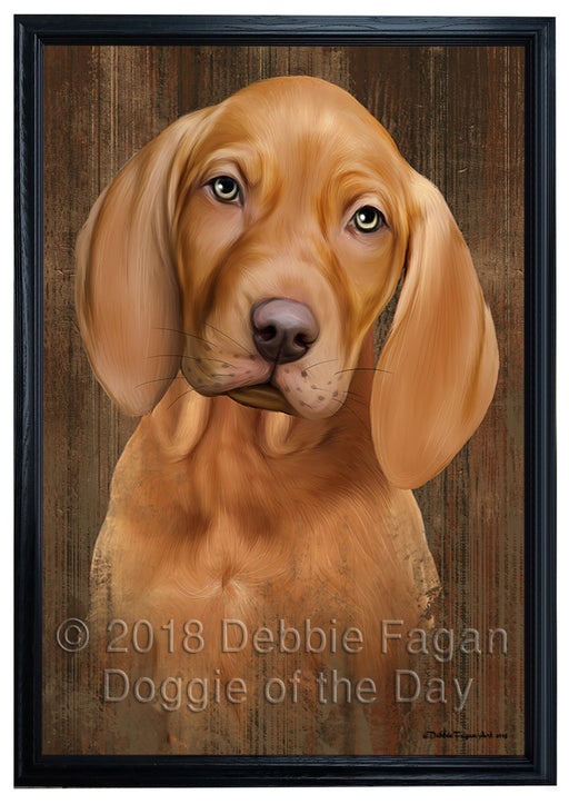 Rustic Vizsla Dog Framed Canvas Print Wall Art BRFRMCVS75047