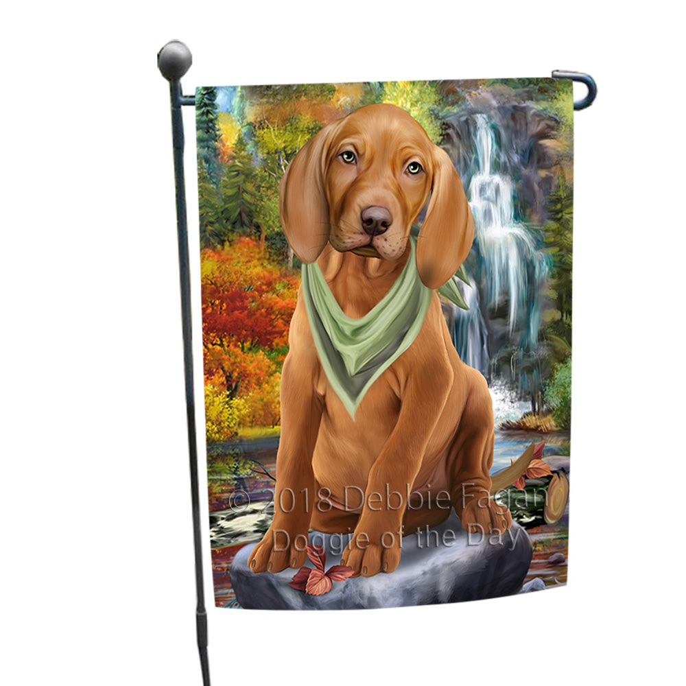 Scenic Waterfall Vizsla Dog Garden Flag GFLG51978