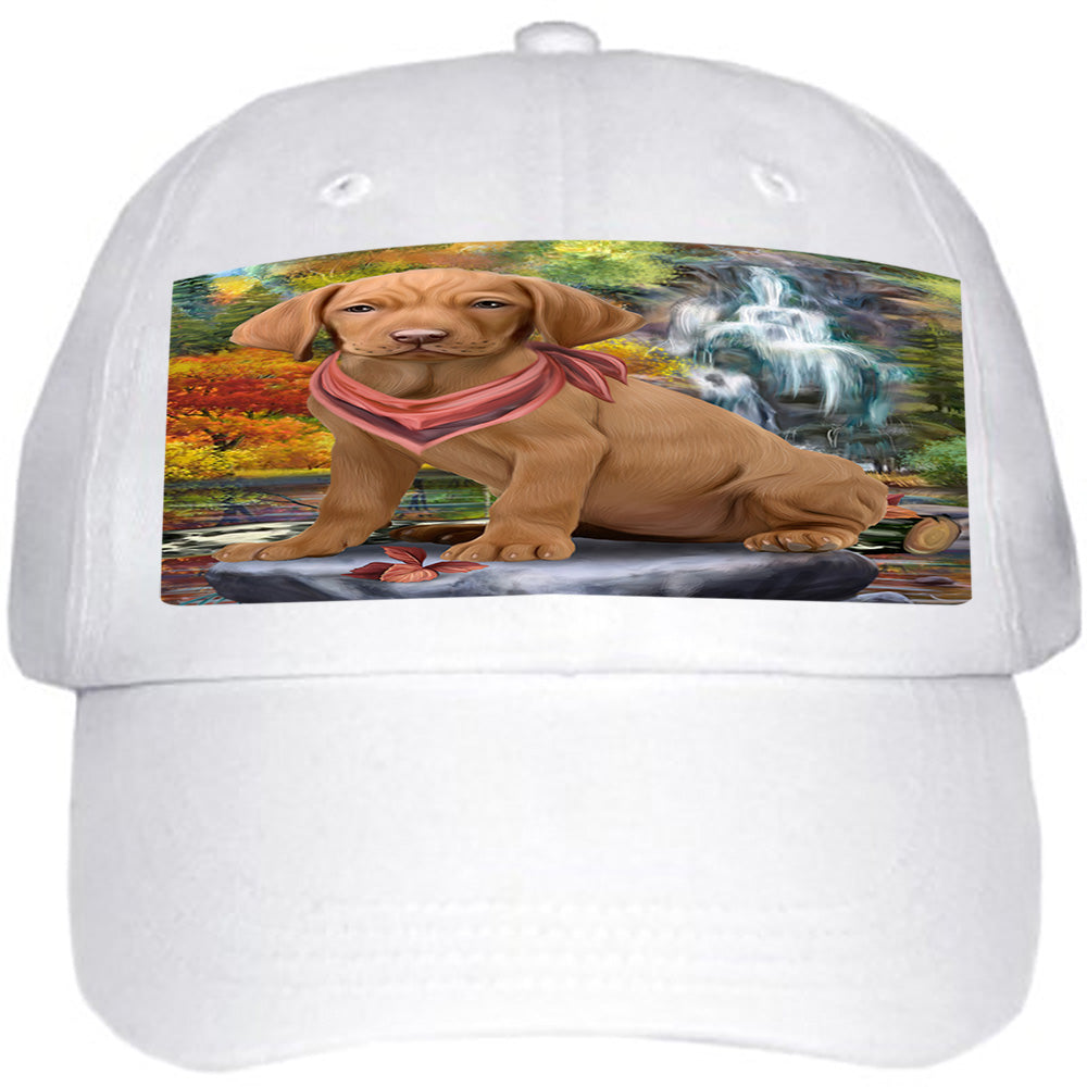 Scenic Waterfall Vizsla Dog Ball Hat Cap HAT59682