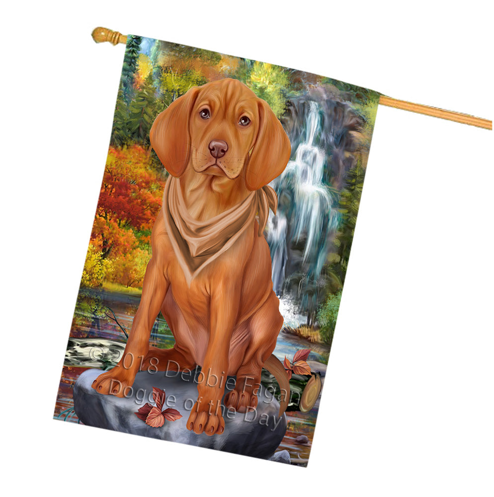 Scenic Waterfall Vizsla Dog House Flag FLG52117