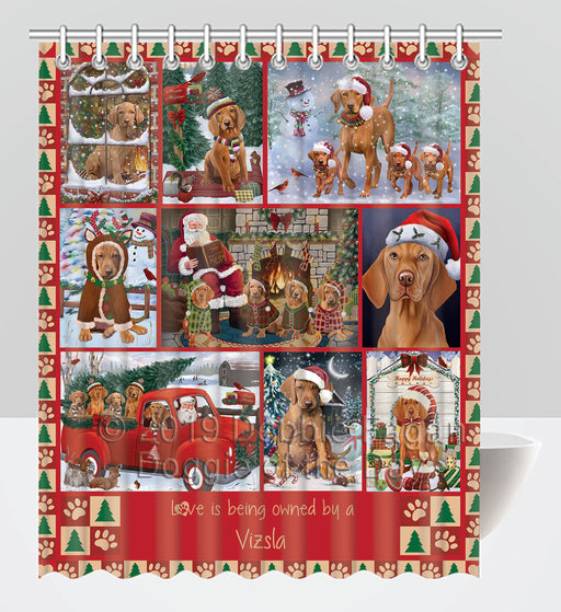 Love is Being Owned Christmas Vizsla Dogs Shower Curtain