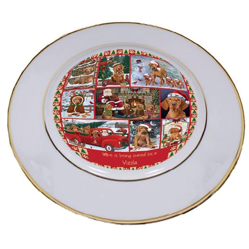 Love is Being Owned Christmas Vizsla Dogs Porcelain Plate PLT57312