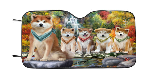 Scenic Waterfall Akita Dogs Car Sun Shade