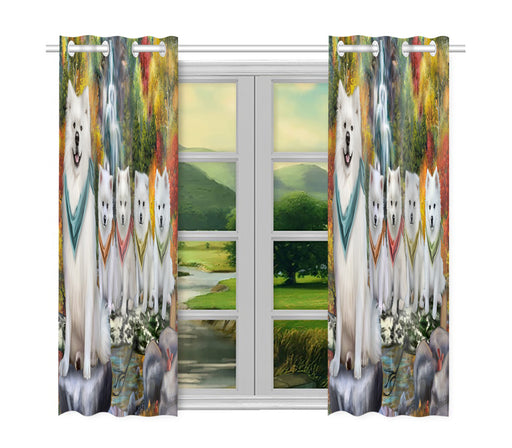 Scenic Waterfall American Eskimo Dogs Window Curtain
