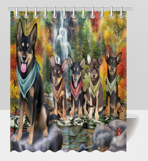 Scenic Waterfall Australian Kelpie Dogs Shower Curtain