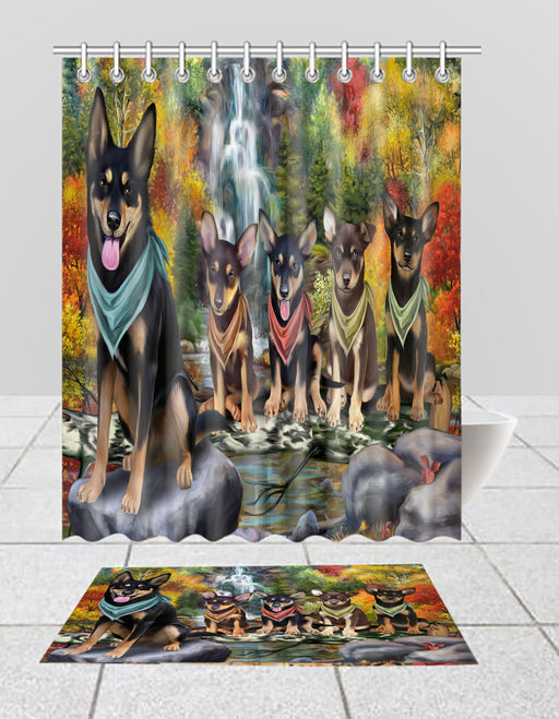 Scenic Waterfall Australian Kelpie Dogs Bath Mat and Shower Curtain Combo