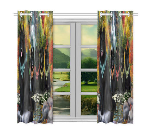Scenic Waterfall Belgian Shepherd Dogs Window Curtain