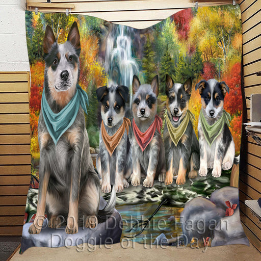 Scenic Waterfall Blue Heeler Dogs Quilt