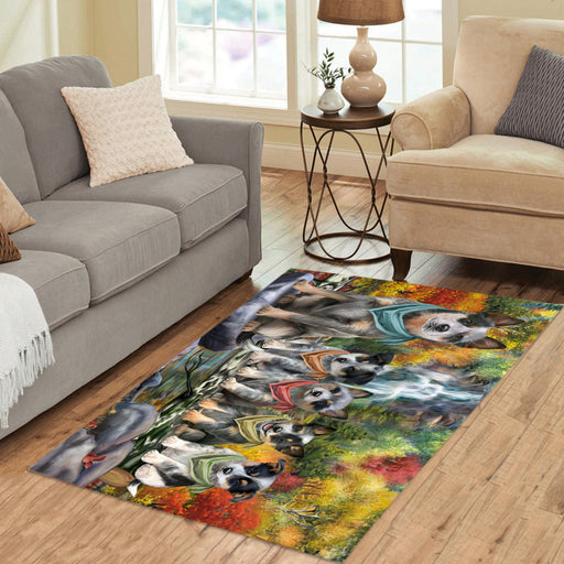 Scenic Waterfall Blue Heeler Dogs Area Rug