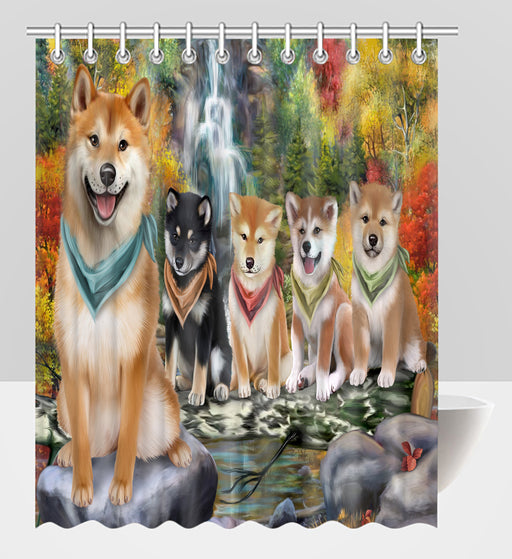 Scenic Waterfall Shiba Inu Dogs Shower Curtain