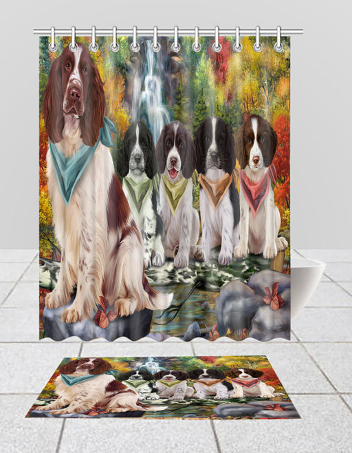 Scenic Waterfall Springer Spaniel Dogs Bath Mat and Shower Curtain Combo