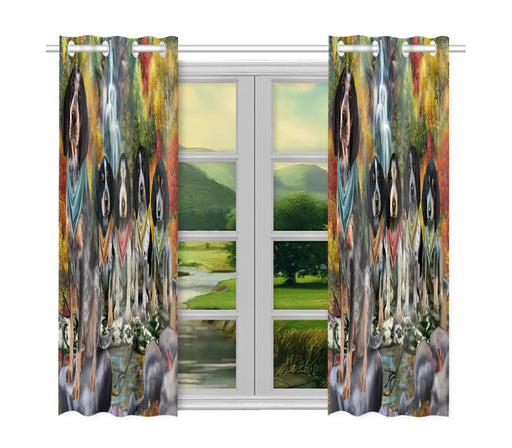 Scenic Waterfall Bluetick Coonhound Dogs Window Curtain