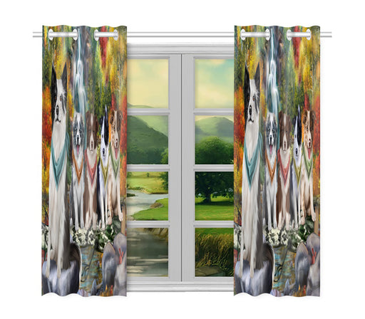 Scenic Waterfall Border Collie Dogs Window Curtain