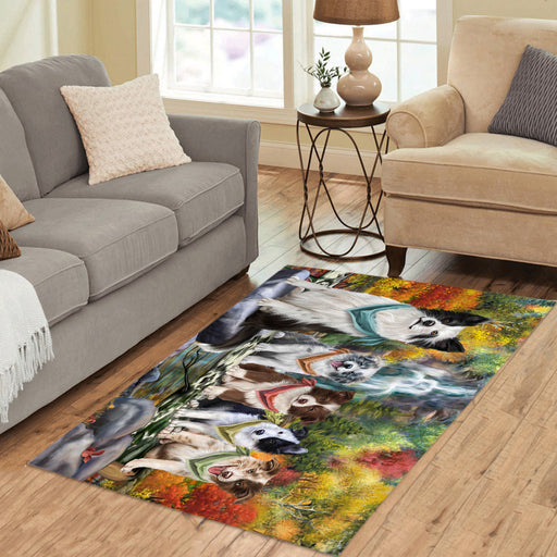 Scenic Waterfall Border Collie Dogs Area Rug