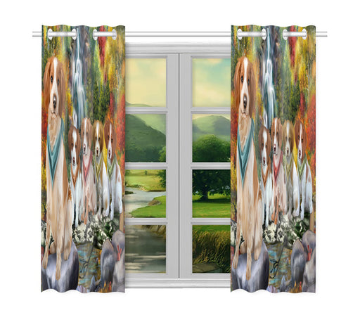 Scenic Waterfall Brittany Spaniel Dogs Window Curtain