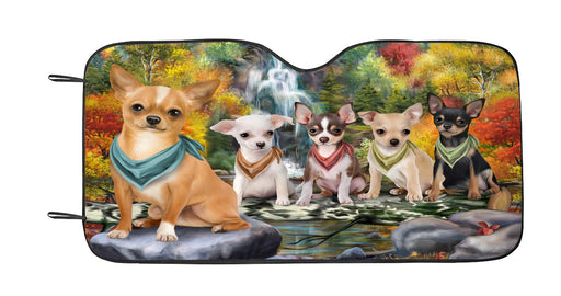 Scenic Waterfall Chihuahua Dogs Car Sun Shade
